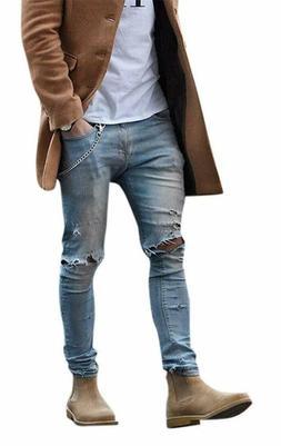 Okilr Pjik Men'S Vintage Skinny Fit Destroyed Cotton Denim J