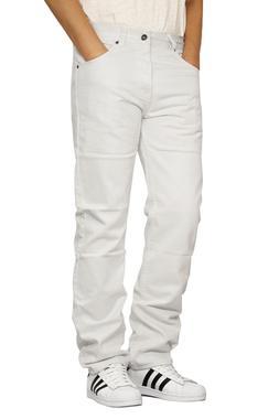 MEN'S WHITE REGULAR FIT STRAIGHT LEG DENIM JEANS OSCAR