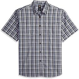 Dickies Men's Yarn Dyed Plaid Short Sleeve Shirt, Dark Denim