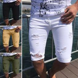 Men Shorts Ripped Skinny Jeans Knee Length Summer Casul Jean