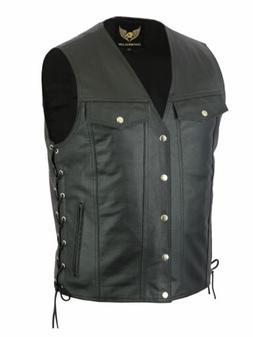 Men Side Lace Denim Style Biker Motorcycle Leather Vest Gun
