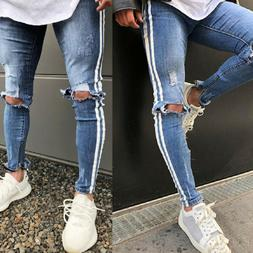 men s ripped jeans stretch track pants