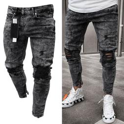 Men Skinny Jeans Pants Destroyed Stretchy Biker Ripped Slim