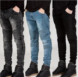 Men Skinny Jeans Ripped Slim Fit Stretch Trousers Destroyed