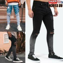 Men Skinny Jeans Slim Fit Jeans Pants Ripped Stretch Casual