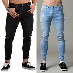 Men's Denim Ripped Distressed Jeans Skinny Pants Frayed Bike