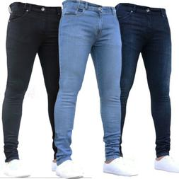Men Skinny Stretch Jeans Denim Pants Slim Fit Summer Casual