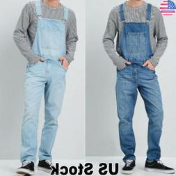 Men Vintage Denim Dungarees Overalls Bib Work Jeans Jumpsuit