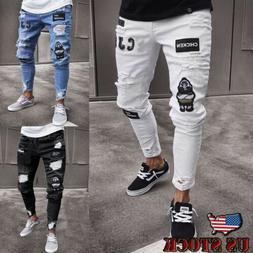 Men White Skinny Jeans Pants Destroyed Stretchy Biker Ripped