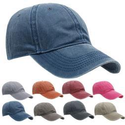 Men Women Baseball Cap Denim Jean Hat Brushed Washed Cotton