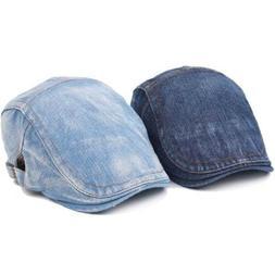 Men Women Denim Jeans Washed Newsboy Beret Hat Duckbill Golf