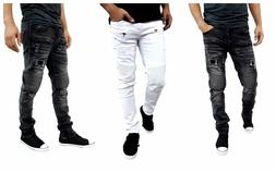 Etzo Mens biker jeans, Skinny fit premium Ripped Distressed