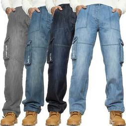 Mens Cargo Jeans Combat Trousers Heavy Duty Work Casual Big