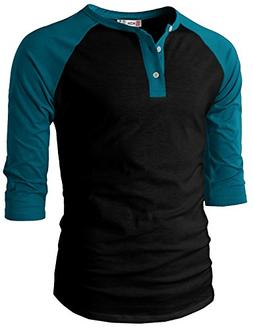 H2H Mens Casual Slim Fit Raglan 3/4 Sleeve Henley T-Shirts B