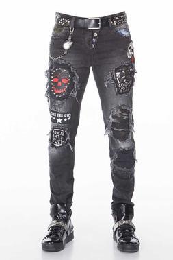 Mens CIPO & BAXX Black Distressed Stretch Skull Rockstar Mot