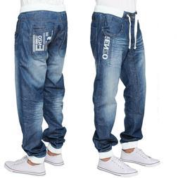 ENZO Mens Cuffed Jeans Regular Leg Casual Denim Jogger Pants