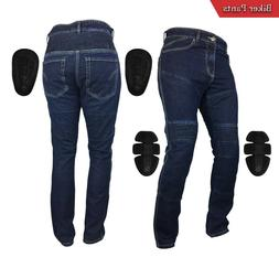 Mens Denim Motorcycle Motorbike Sports Jeans with Protective