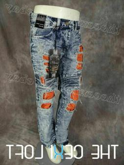 Mens Distressed JEANS Straight Leg DESTROYED Blue Wash Holes