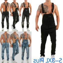 Mens Fashion Casual Jeans Jumpsuit Overall Suspender Pants J