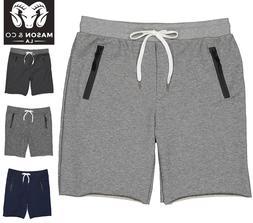 Men's Gym Shorts zipper Pockets Cotton GYM Sweat Shorts MADE