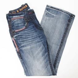 Rock Revival Mens Jeans 28 Fate Slim Boot Medium Wash Red St