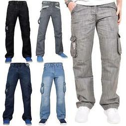 Mens Enzo Jeans Combat Casual Denim Cargo Pocket Trousers Pa