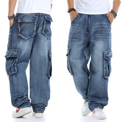 Mens Jeans Relaxed Fit Cargo Pants Big Tall Loose Style Rugg