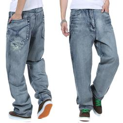 Mens Jeans Relaxed Fit Pants Baggy Casual Simple Big & Tall