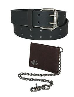 Dickies Mens Leather Chain Wallet and Two Hole Bridle Belt,