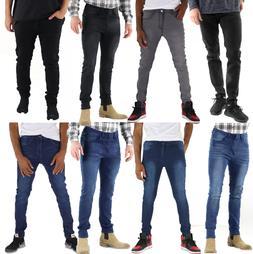 Mens Slim Fit Jeans Skinny Stretch Denim Pants Slim Skinny C