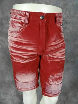 Mens PREMIUM MOTO Shorts Red Lava Wash Rips Fades SLIM Fit D