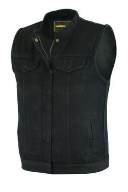 Men's Motorcycle Biker Denim SOA Club Style Vest with Dual