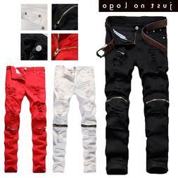 Mens Red White Skinny Slim Biker Pants Knee Zipper Distresse