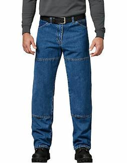 DICKIES MENS RELAXED FIT DOUBLE KNEE 6-POCKET JEAN STONEWASH