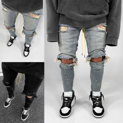 Mens Ripped Jeans Pants Skinny Distressed Slim Fit Biker Cas