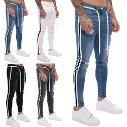 us mens ripped skinny biker jeans frayed