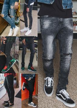 Mens Ripped Skinny Jeans Stretch Denim Pants Slim Fit Jeans