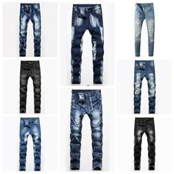 Mens Skinny Ripped Jeans Destroyed Frayed Pants Washed Denim