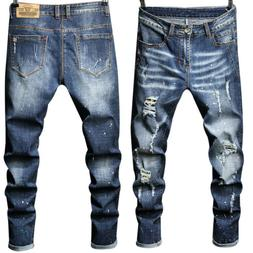 Zainafacai Casual Jeans Button Destroyed Knee Length Hole Ripped Pants Mens Fashion Washed Shorts