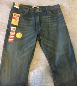 Men's Wrangler Stretch Dark Relaxed Bootcut Denim jeans 34