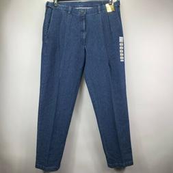 Haggar Mens Stretch Denim Classic Fit Pleated Pants Jeans Bl