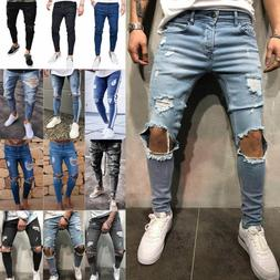 Men Destroyed Skinny Jeans Trousers Biker Frayed Casual Slim