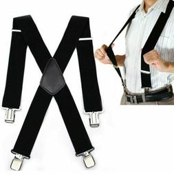 Mens Suspenders X Style Very Strong Clips Adjustable Fits Al