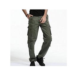 Mens Military Multi Pockets Combat Casual Cotton Loose Long