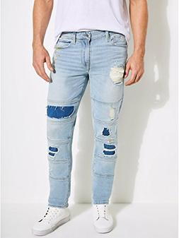 GUESS Men's Multi-Stitch Slim Tapered Jean, Blurred Blue Was