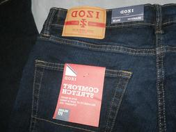 NEW IZOD 34 x 30 jeans blue RELAXED FIT STRETCH comfort men'
