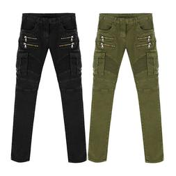 New Arrival High Quality Green Black Motorcycle Denim Biker