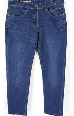 New Izod Jeans 34 x 32 Slim Fit Straight Leg Blue Denim Stre