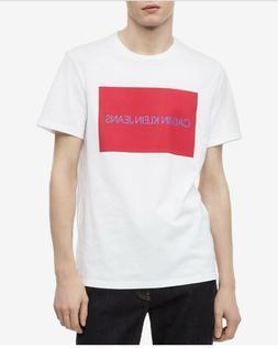 New Calvin Klein Jeans Men's Medium White Graphic Logo Crewn