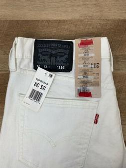New Levi's 511 Slim Stretch Fit White Denim Men's Jeans